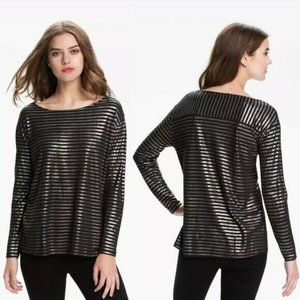 Soft Joie Long Sleeve Striped Top Black Silver